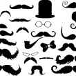 Collection of mustaches — Stock Vector