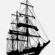 Detailed silhouette of old ship — Stock Vector