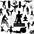 Sport and fitness silhouettes — Stock Vector