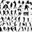 Stockvektor : Set of sport silhouettes