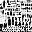 Collection of fashion silhouettes — Stock Vector