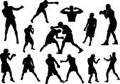 Siluetas de los boxeadores — Vector de stock