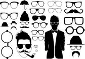 Set of glasses and other accessory — Vector de stock