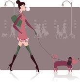 女孩与狗 — 图库矢量图片