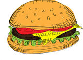 Vector Color Hamburger — Stock Vector