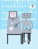 Robot lee un libro — Vector de stock