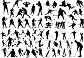 Set of sport silhouettes — Vector de stock
