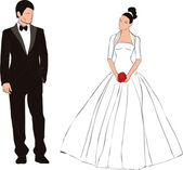 Groom and bride illustration — Stock Vector
