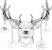 Funny Christmas deer — Vector de stock