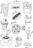Fast Food Doodles — Stock Vector
