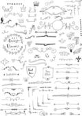 Hand drawn set of design elements — Stock Vector