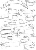 Vintage hand-drawn riddons — Vector de stock