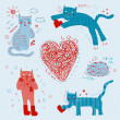 Stock Vector: Cat in love