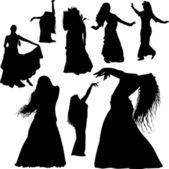 Belly dance silhouettes — Stock Vector