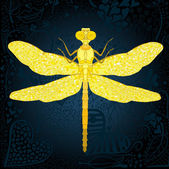 Golden dragonfly — Stock Vector