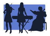 Three musicians silhouettes — Stock Vector