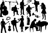 Silhuetas de músicos — Vetor de Stock