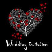 Wedding Invitation with Hearts Tree — Stock Vector