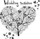 手描きの結婚式の招待状 — ストックベクタ