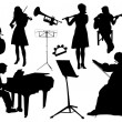 Orchestra silhouettes — Stock Vector #51178133