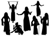 Oriental Dancers Silhouettes — Stock Vector