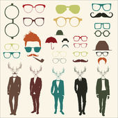 Set of glasses and men — Stock Vector