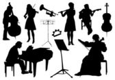Orchestra silhouettes — Stock Vector