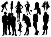 Set of people silhouettes — 图库矢量图片