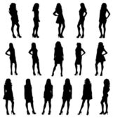 Posing women silhouettes — Stock Vector