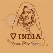 Rétro backgound vintage avec une jeune indienne pour votre conception — Vecteur
