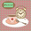 Vintage tea mug, saucer,spoon and alarm clock on tablecloth — Stockvectorbeeld