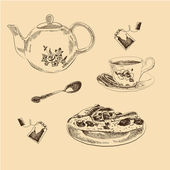 Tea Set sketches collection for your design — Stock vektor