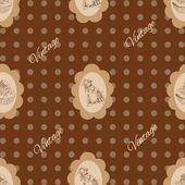 Seamless vintage Pattern with mouse and cake — 图库矢量图片