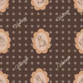 Patrones vintage sin fisuras con el ratón y pastel — Vector de stock