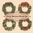 Set of 4 vintage christmas wreaths for your design — Wektor stockowy