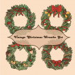 Set of 4 vintage christmas wreaths for your design — Stockvektor