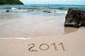 Ręcznie napisane na piaszczystej plaży — Zdjęcie stockowe