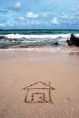 Hand written on sand beach — Stockfoto