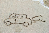 Hand written on sand beach — Stock Photo
