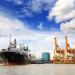 Стоковое фото: Cargo ship at port outgoing with blue sky