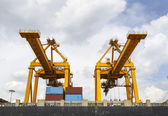 Port cargo crane in harbor — Stock Photo