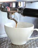 Crose up prepares espresso from coffee machine — Stock Photo