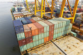 Container ship berthing port — Stock Photo