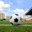 Soccer football in Goal net with green grass field — Foto Stock