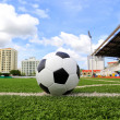 Soccer football in Goal net with green grass field — Stockfoto