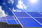 Power plant using renewable solar energy with blue sky — ストック写真
