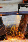 Steel plate cutting by gas machine — Stock Photo