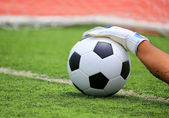 Soccer goalkeeper's hands reaching for the ball — Stock Photo