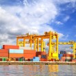 Stock Photo: Cargo ship at port for transportation with blue sky