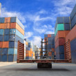 Stockfoto: Forklift handling flat rack container box at dockyard